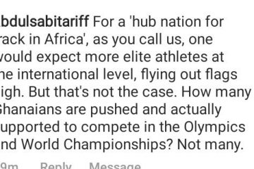"""Na Who Do You Think You Are Lying To? A concerned fan disagrees with the statement """"Ghana the Sprinters Hub Nation in Africa"""""""